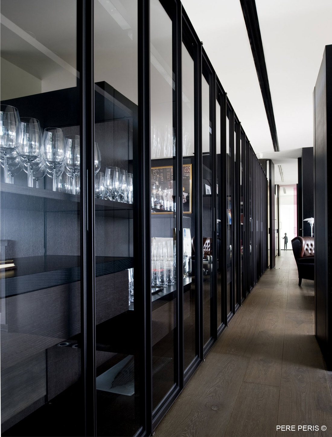 Shelving, Glass Doors, Stylish Glass Home in Valencia, Spain