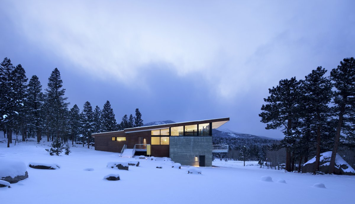 Side Facade, Contemporary Cabin in the Rocky Mountains
