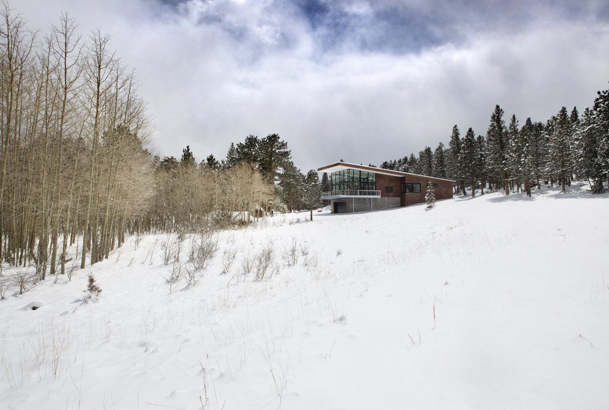 Snow, Contemporary Cabin in the Rocky Mountains