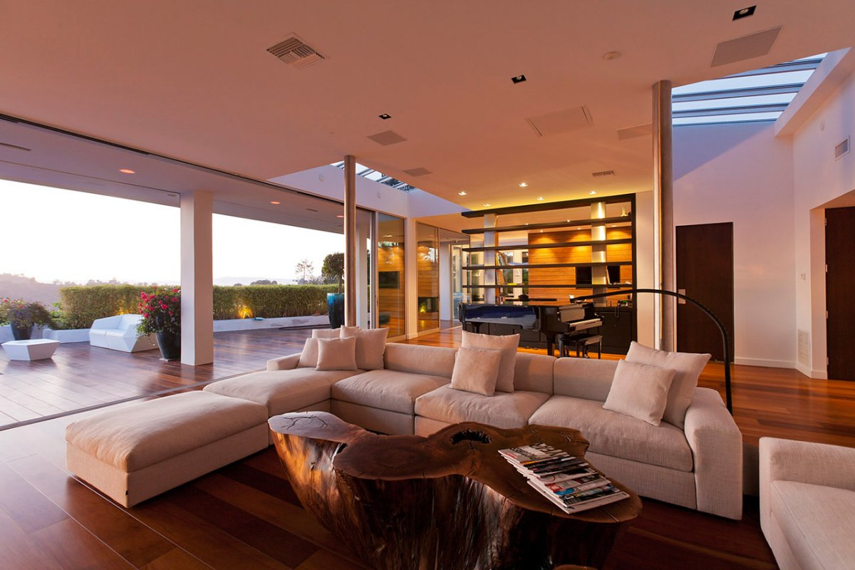 Sofa, Coffee Table, Patio Doors, Renovation of a Hal Levitt Home in Beverly Hills