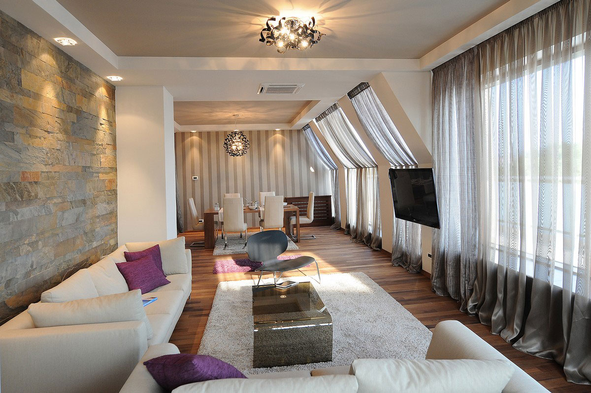 Sofa, Glass, Coffee Table, Rug, Penthouse in Belgrade, Serbia