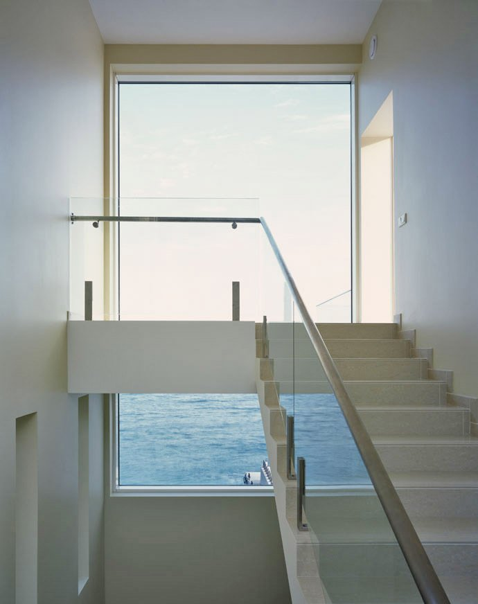 Stairs, Large Window, Oceanfront Home in Crimea, Ukraine