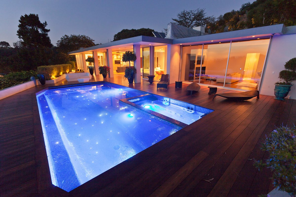 Pool Star Lighting, Renovation of a Hal Levitt Home in Beverly Hills
