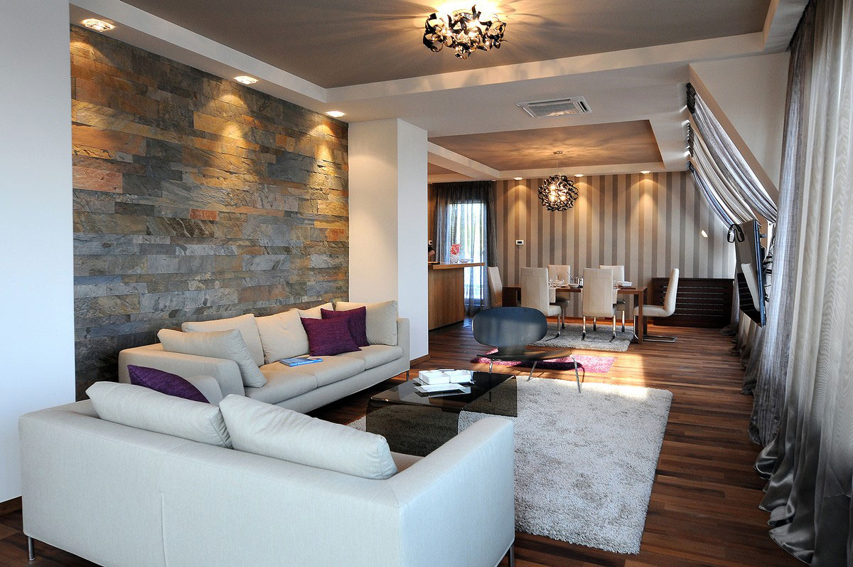 Stone Wall, Open Plan Living Space, Penthouse in Belgrade, Serbia