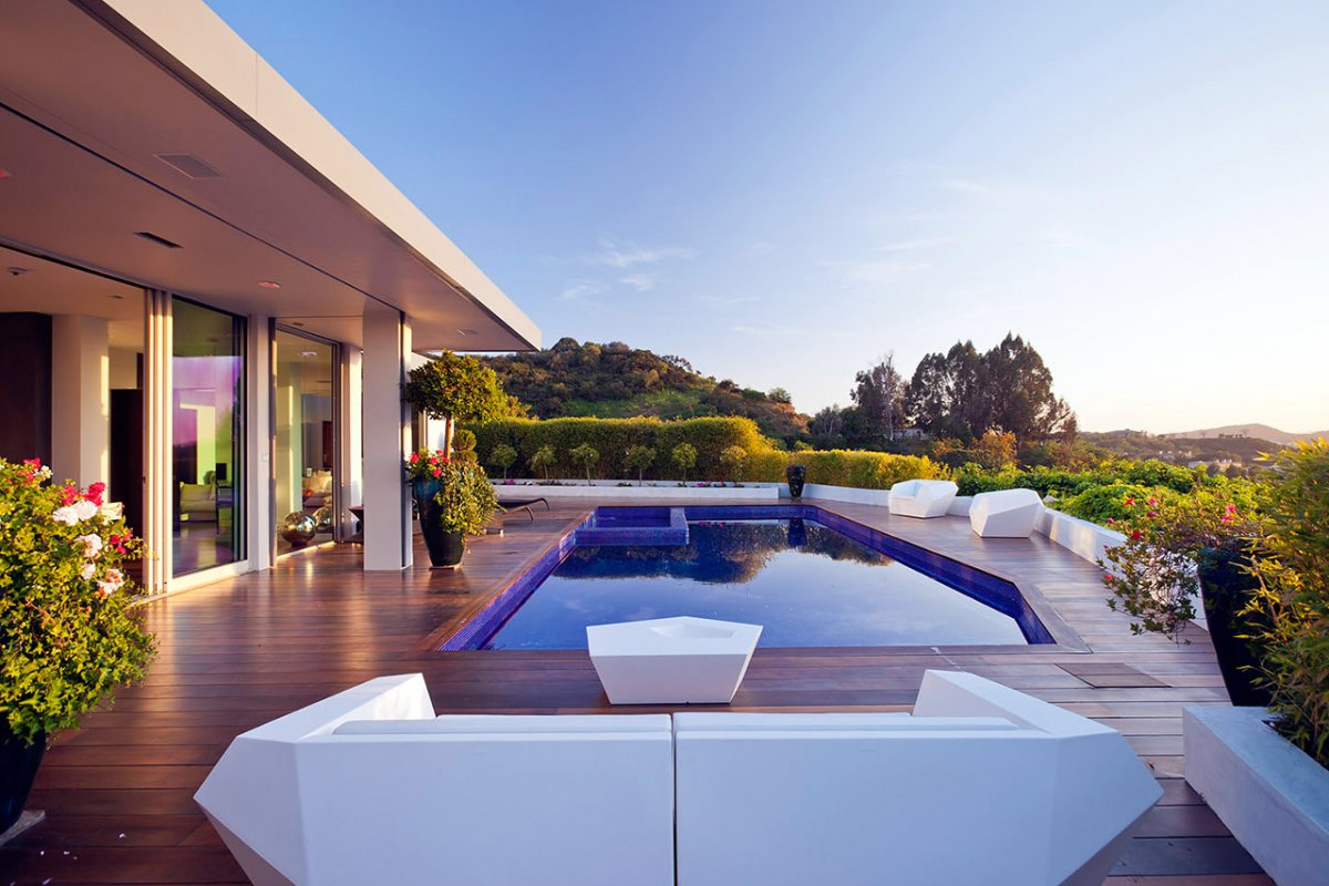 Terrace, Pool, Views, Renovation of a Hal Levitt Home in Beverly Hills