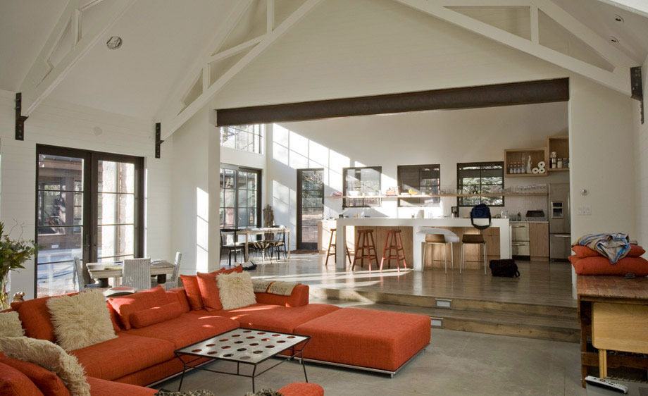 Vaulted Ceilings, Living Space, Modern and Rustic Home in Boulder, Colorado