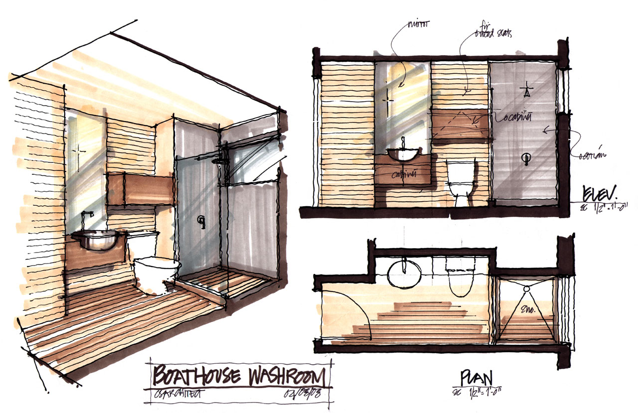 Washroom Plan, Boathouse Renovation and Extension in Muskoka Lakes, Ontario