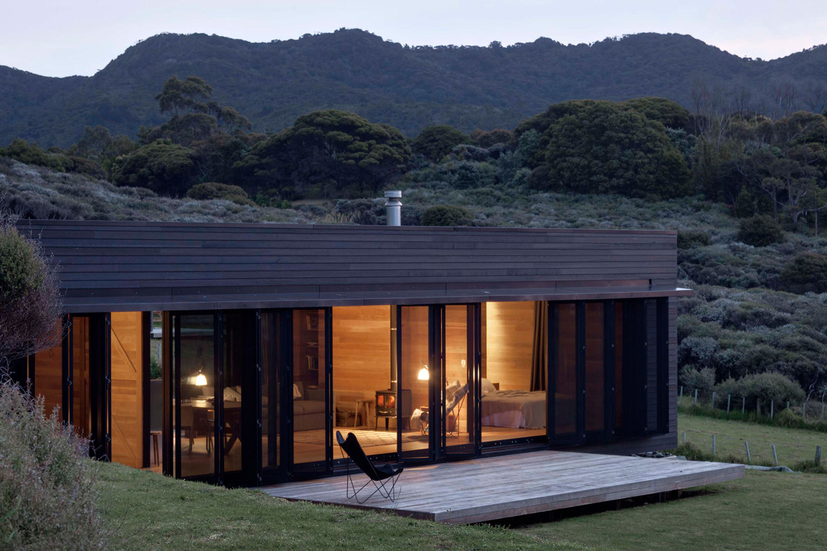 Wood Deck, Fireplace, Lighting, Cottage on Great Barrier Island, New Zealand