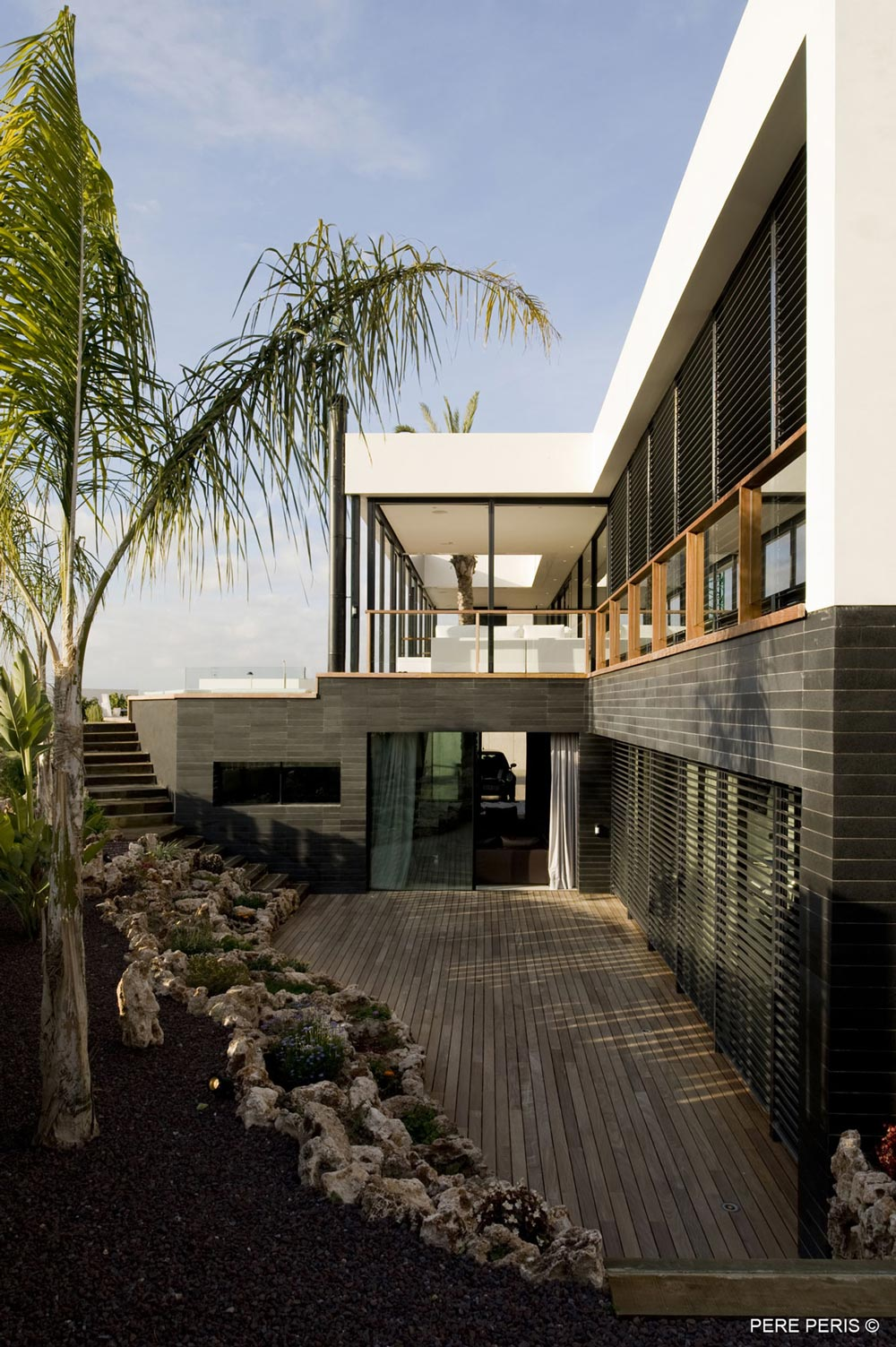 Wood Decking, Stylish Glass Home in Valencia, Spain