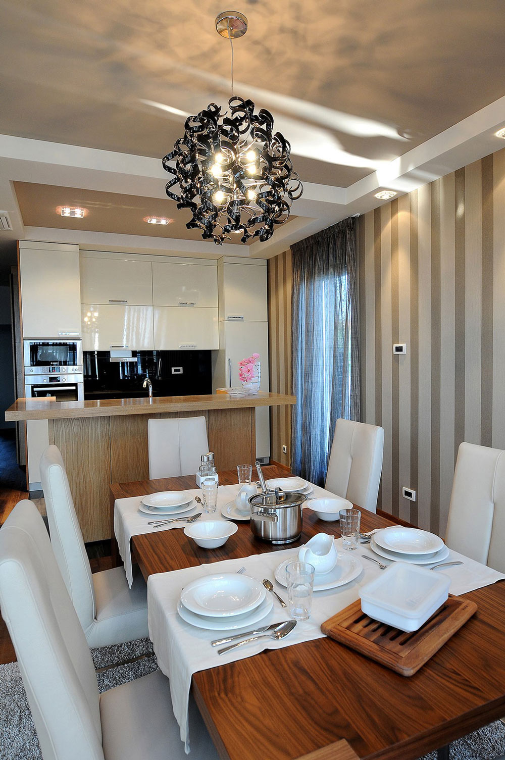 Wood Dining Table, Kitchen, Penthouse in Belgrade, Serbia