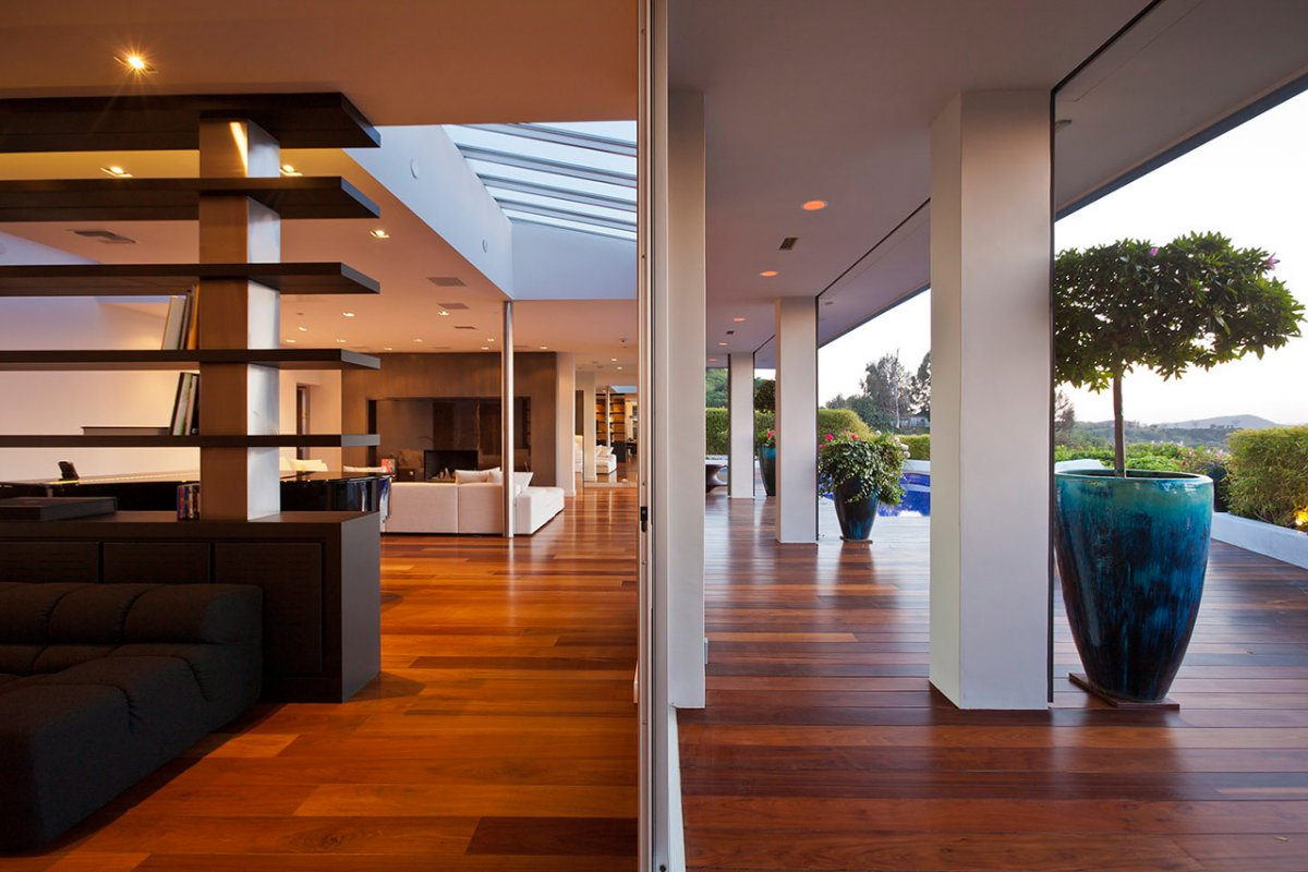 Wood Flooring, Living Area, Renovation of a Hal Levitt Home in Beverly Hills