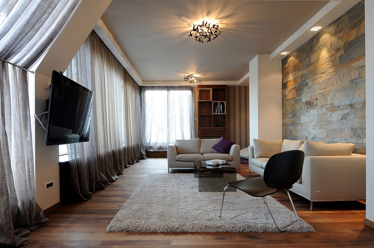 Wood, Flooring, Living Room, Penthouse in Belgrade, Serbia