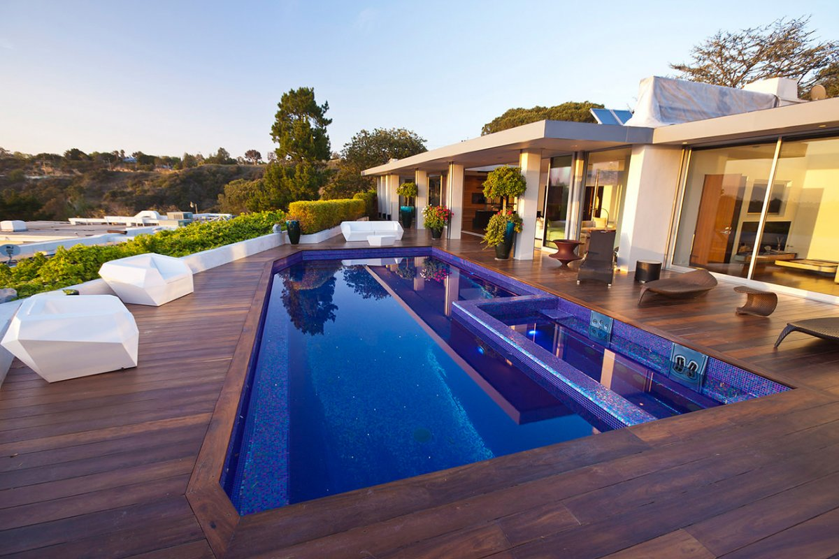 Wood Terrace, Pool, Renovation of a Hal Levitt Home in Beverly Hills