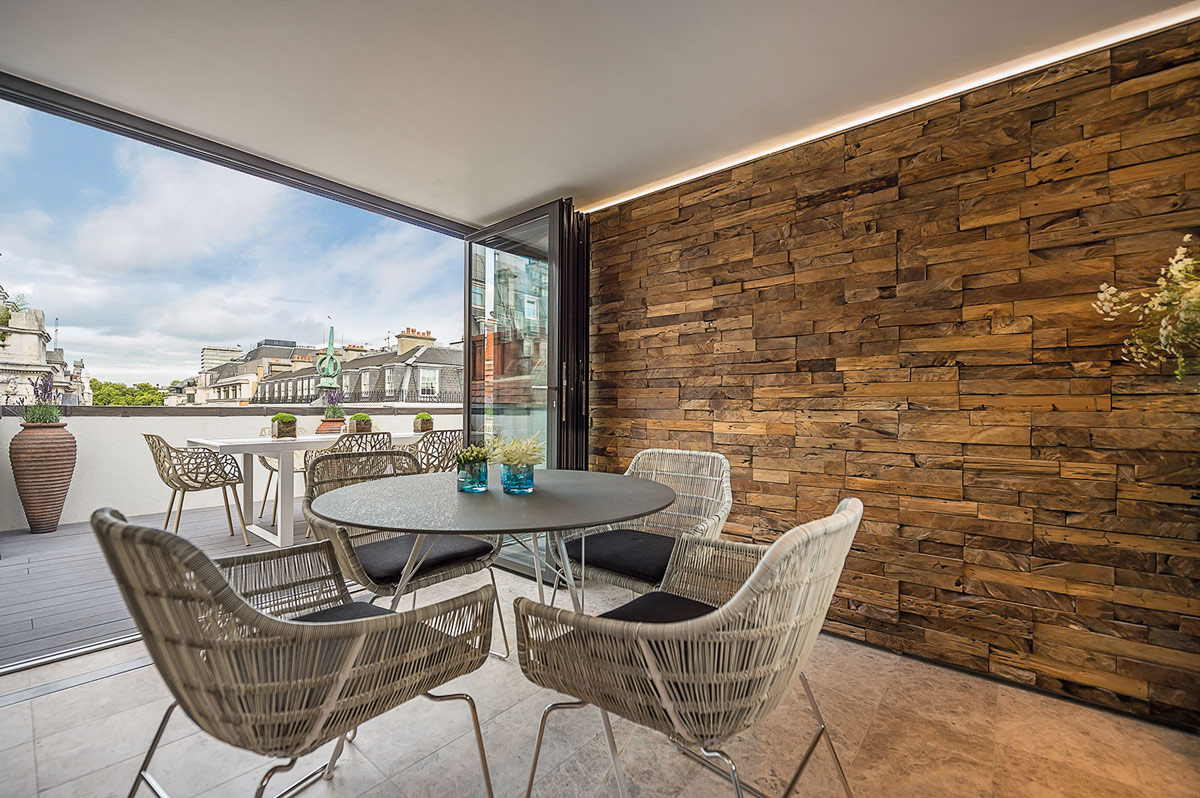 Wood Textured Wall, Penthouse Apartment in St James's, London