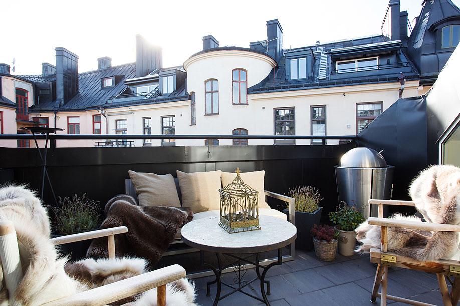Balcony, Loft Apartment in Kungsholmen, Stockholm