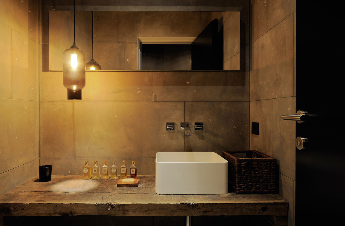 Bathroom Sink, Lighting, Wood Counter, Apartments in Kappl, Austria