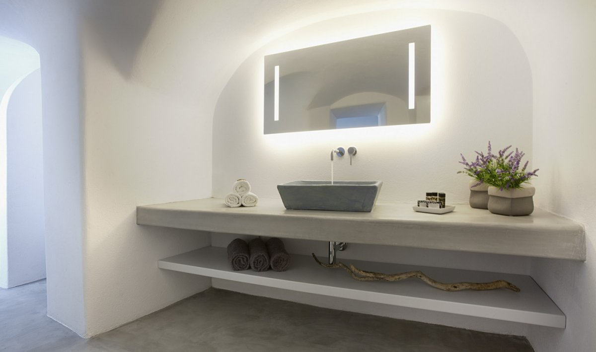 Bathroom, Sink, Mirror, Lighting, Villa Renovation in Megalochori, Santorini