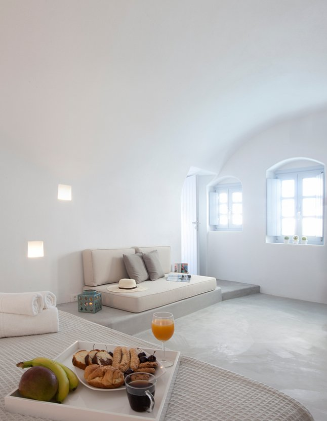 Bright White Bedroom, Villa Renovation in Megalochori, Santorini