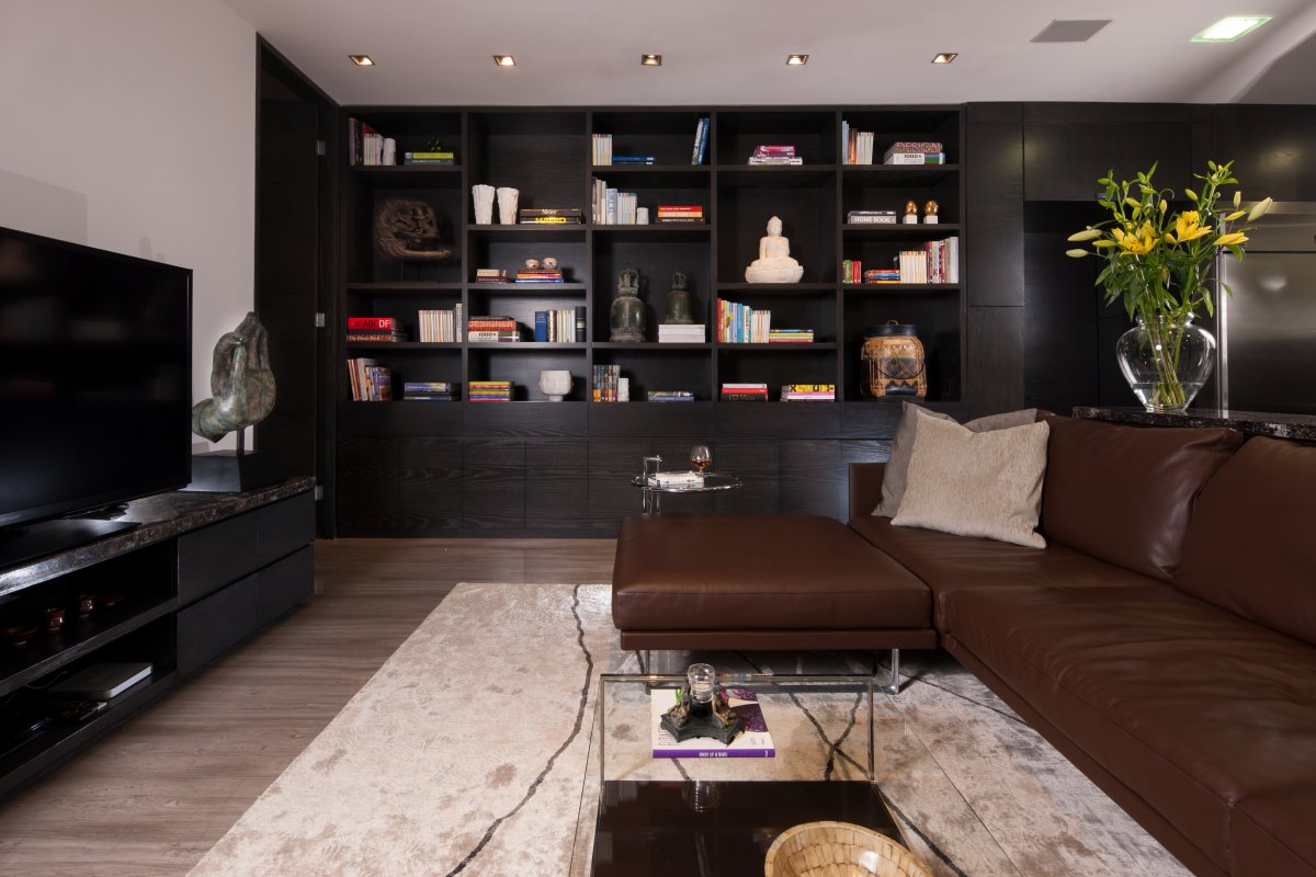Brown Leather Sofa, Rug, Living Space, Stylish Contemporary Home in Garza Garcia, Mexico