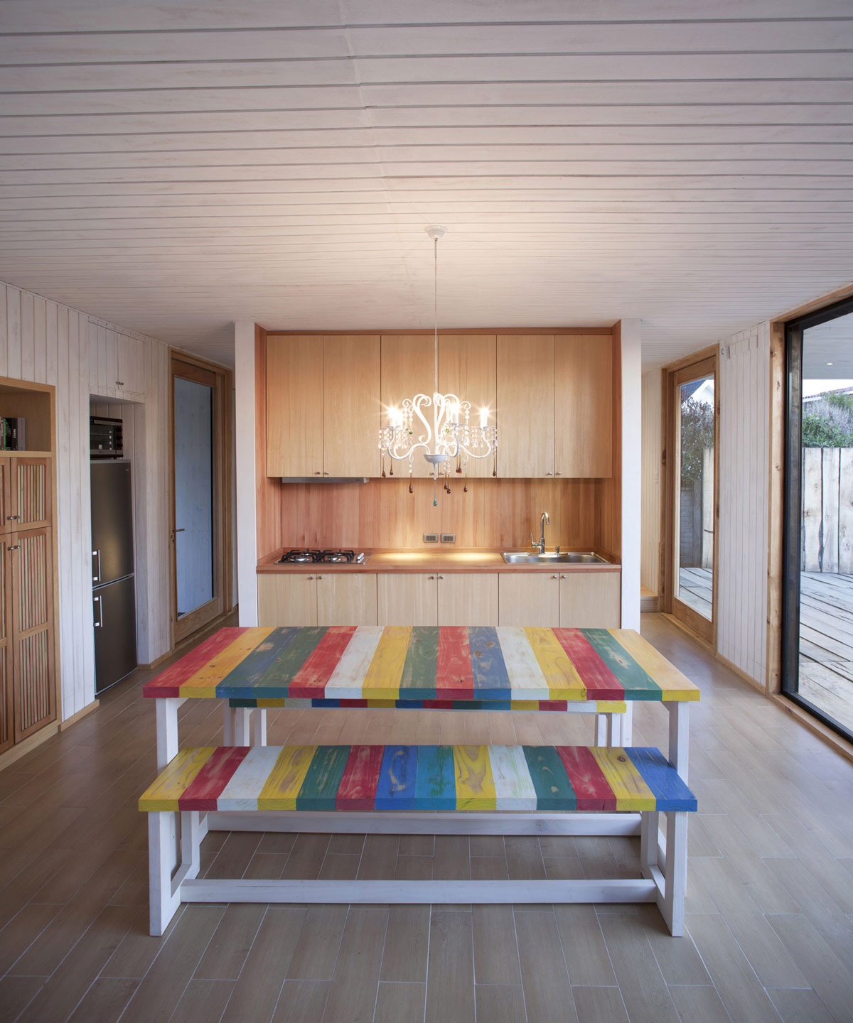 Colorful Dining Table, Compact Kitchen, Family Home in Algarrobo, Chile