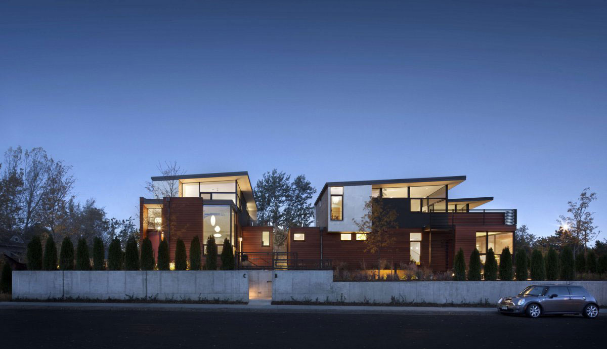 Concrete Wall, Evening Lighting, Stylish Townhomes near Boulder, Colorado