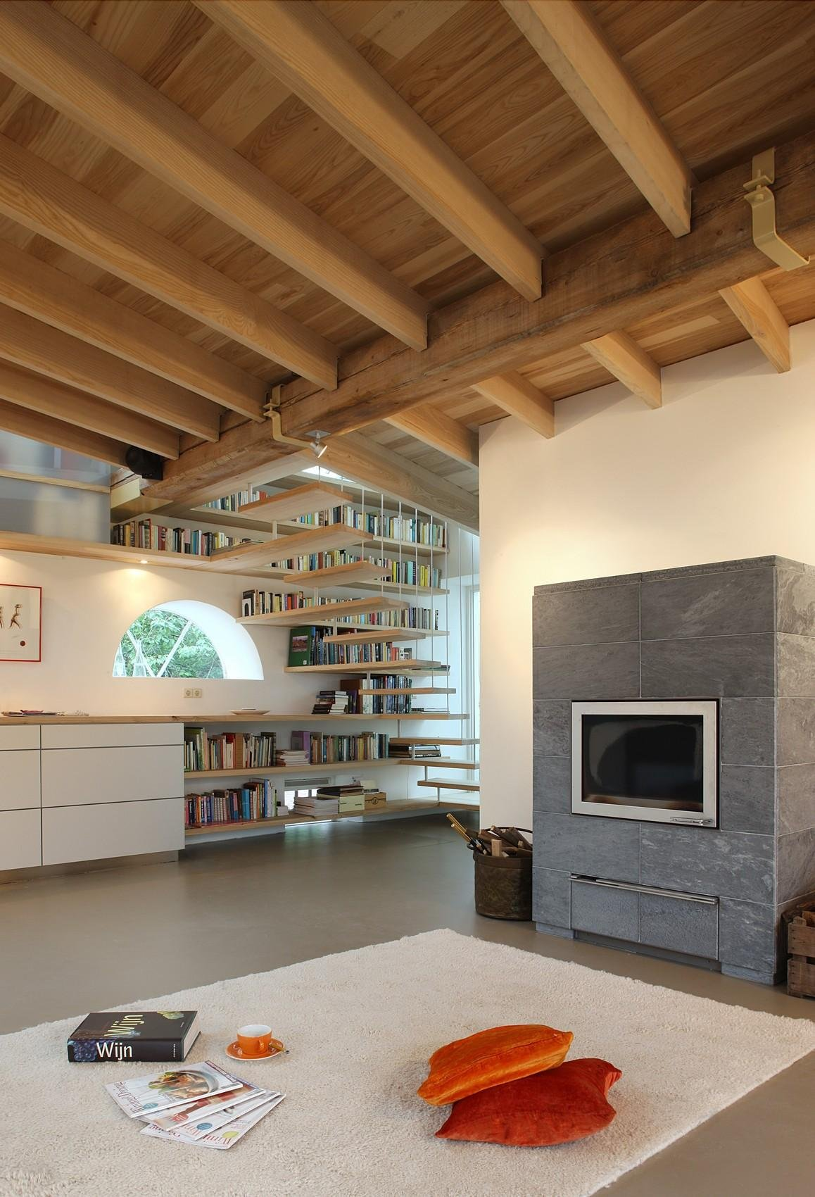 Contemporary Fireplace, Barn Conversion in Geldermalsen, The Netherlands