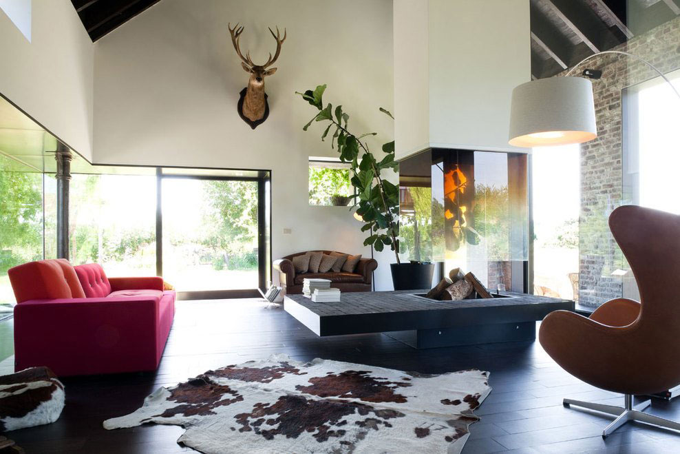 Contemporary Fireplace, Living Room, Farmhouse Renovation in Lennik, Belgium