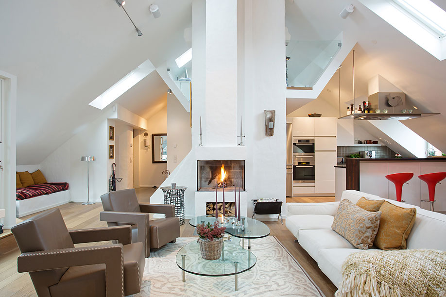 Contemporary Fireplace, Loft Apartment in Kungsholmen, Stockholm