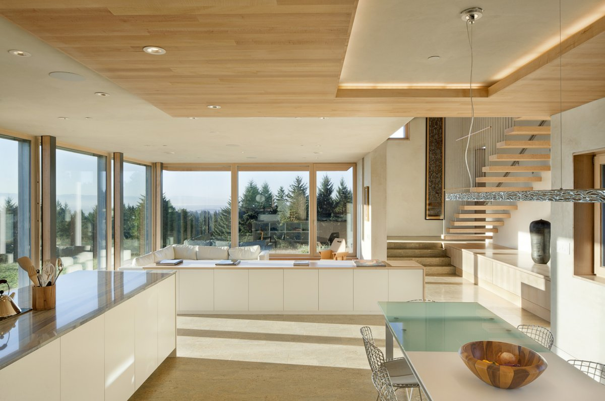 dining, kitchen stairs, sustainable house in newberg, oregon