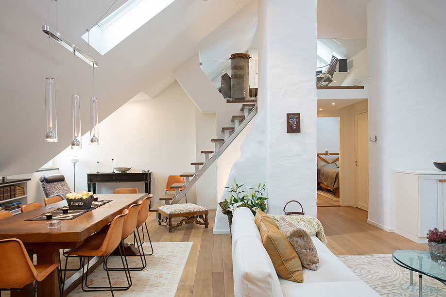 Dining & Living Space, Loft Apartment in Kungsholmen, Stockholm