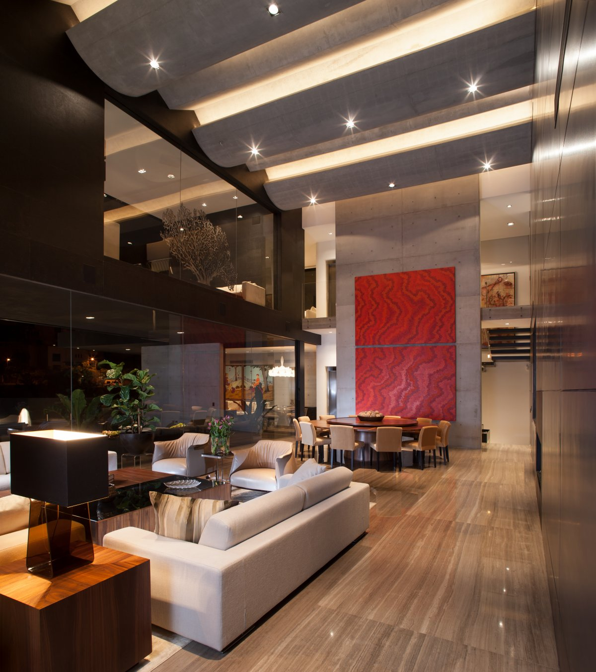 Dining Table, Sofa, Lighting, Stylish Contemporary Home in Garza Garcia, Mexico