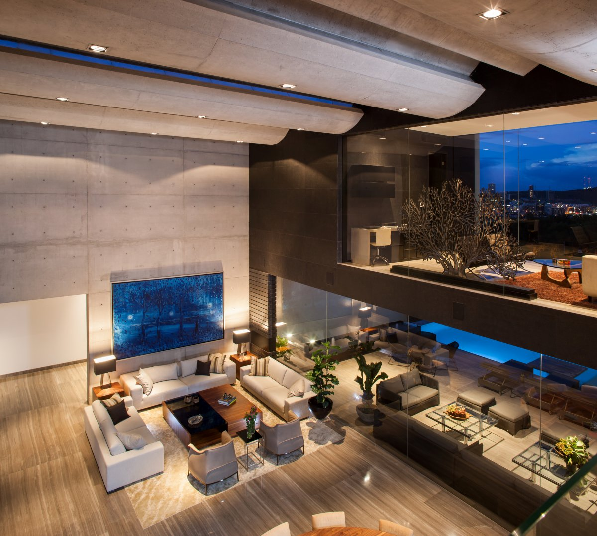 Double Height Living Space, Glass Walls, Exposed Concrete, Stylish Contemporary Home in Garza Garcia, Mexico