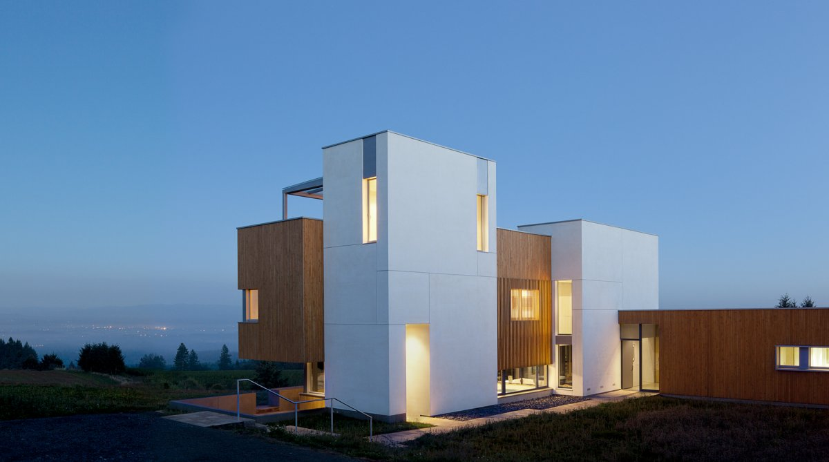 Dusk, Lighting, Sustainable House in Newberg, Oregon