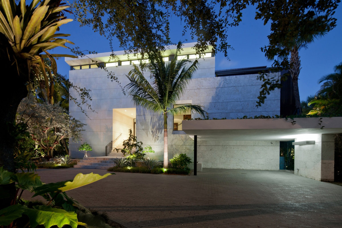 Entrance, Driveway, Evening Lighting, Waterfront Residence in Coral Gables, Miami