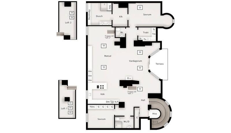 Floor Plan, Loft Apartment in Kungsholmen, Stockholm