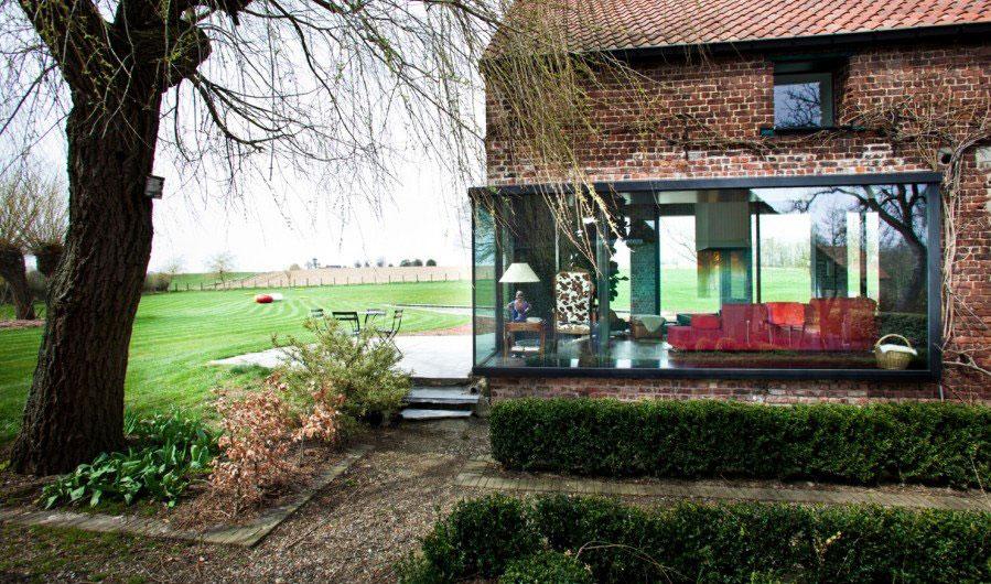 Glass Walls, Garden, Farmhouse Renovation in Lennik, Belgium