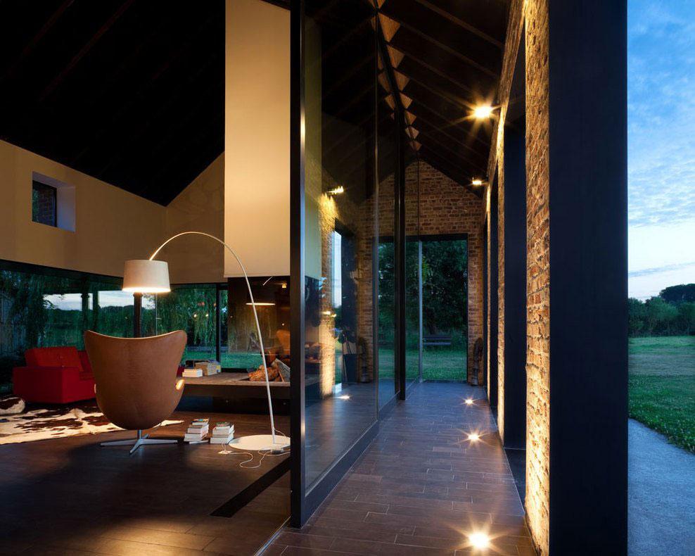 Glass Walls, Living Space, Farmhouse Renovation in Lennik, Belgium
