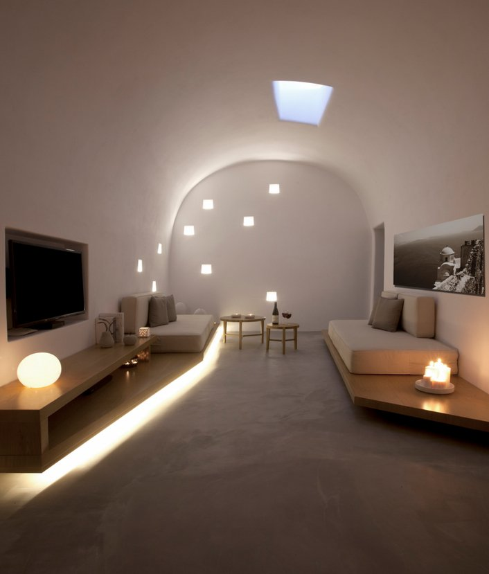 Hidden Floor Lighting, Living Room, Villa Renovation in Megalochori, Santorini