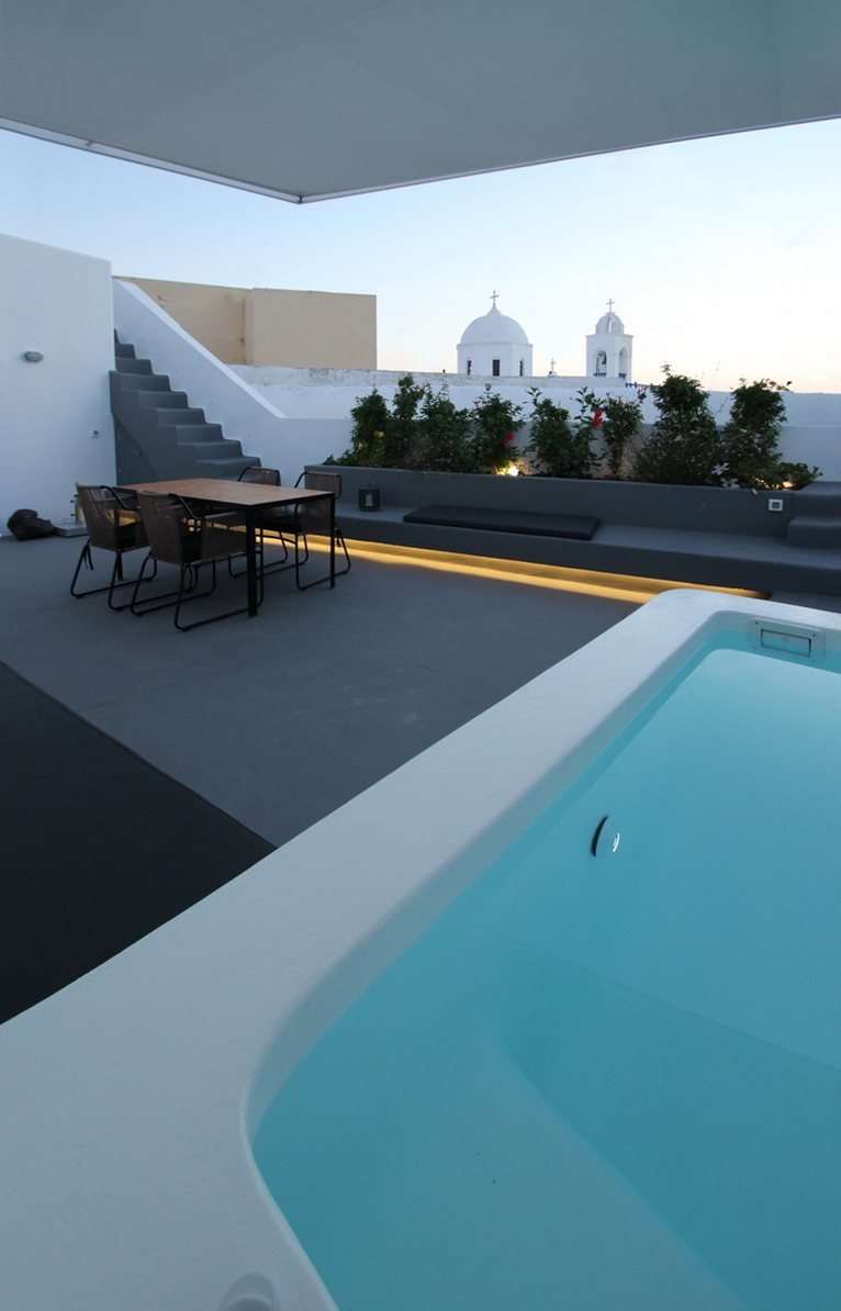 Hidden Lighting, Pool, Courtyard, Villa Renovation in Megalochori, Santorini