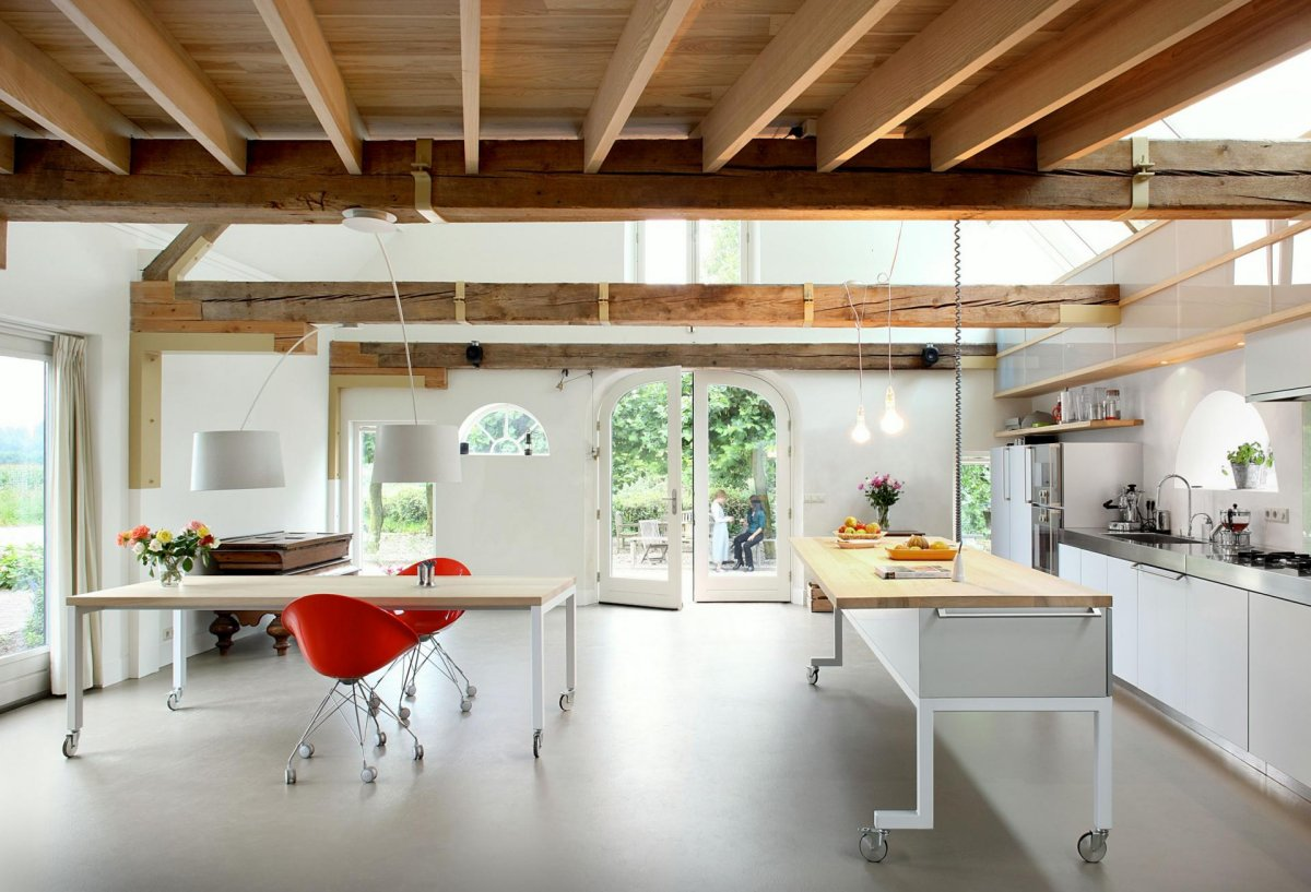 Kitchen, Dining, Front Door, Barn Conversion in Geldermalsen, The Netherlands