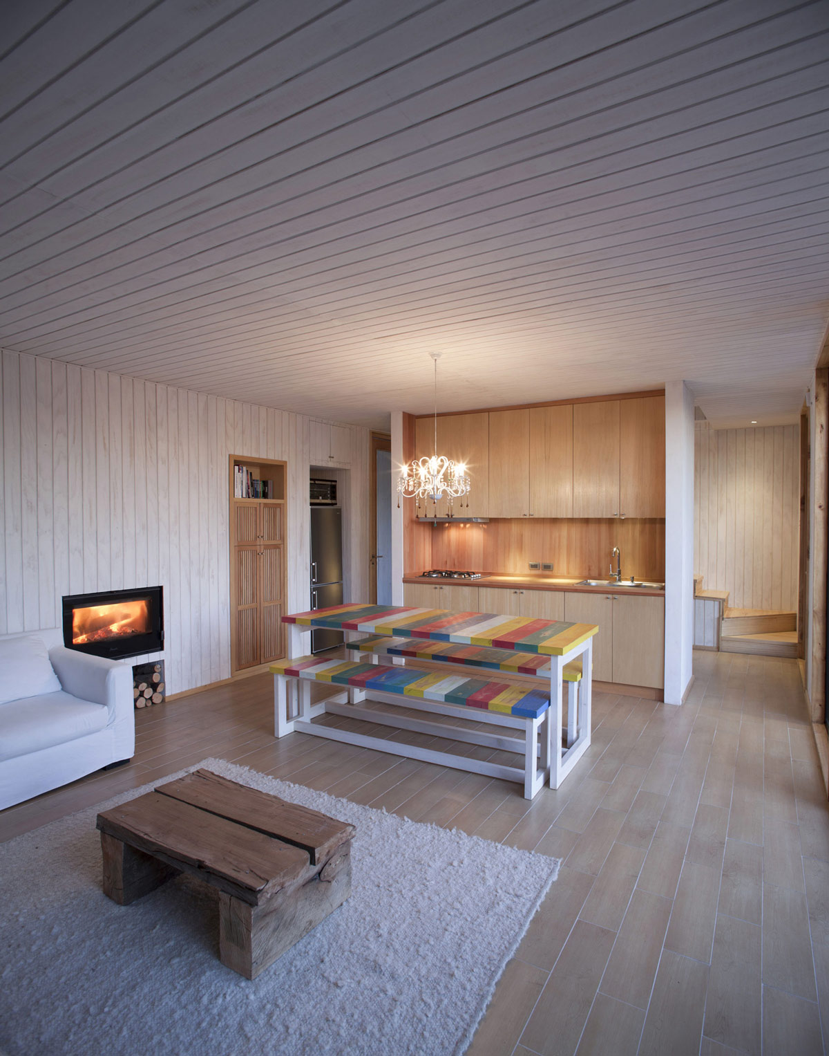 Kitchen, Dining & Living Space, Fireplace, Family Home in Algarrobo, Chile
