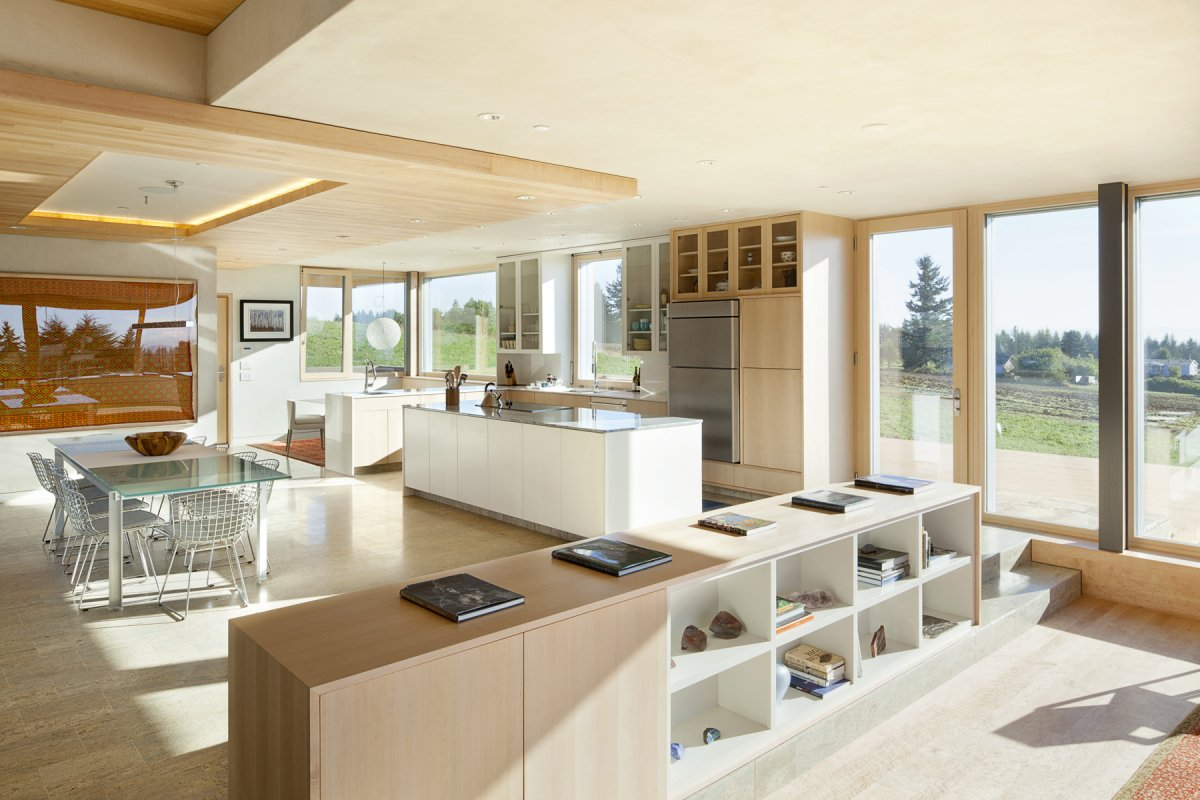 Kitchen Island Dining Space Open Plan Sustainable House in Newberg Oregon