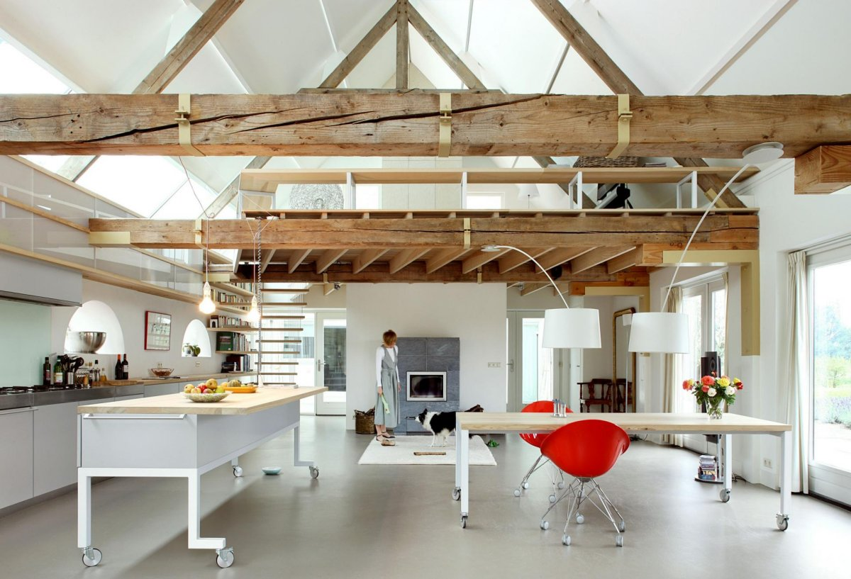 Kitchen Island, Dining Table, Wood Beams, Barn Conversion in Geldermalsen, The Netherlands