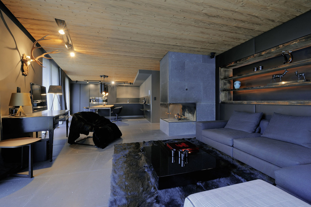 Kitchen, Living, Dining Space, Fireplace, Apartments in Kappl, Austria