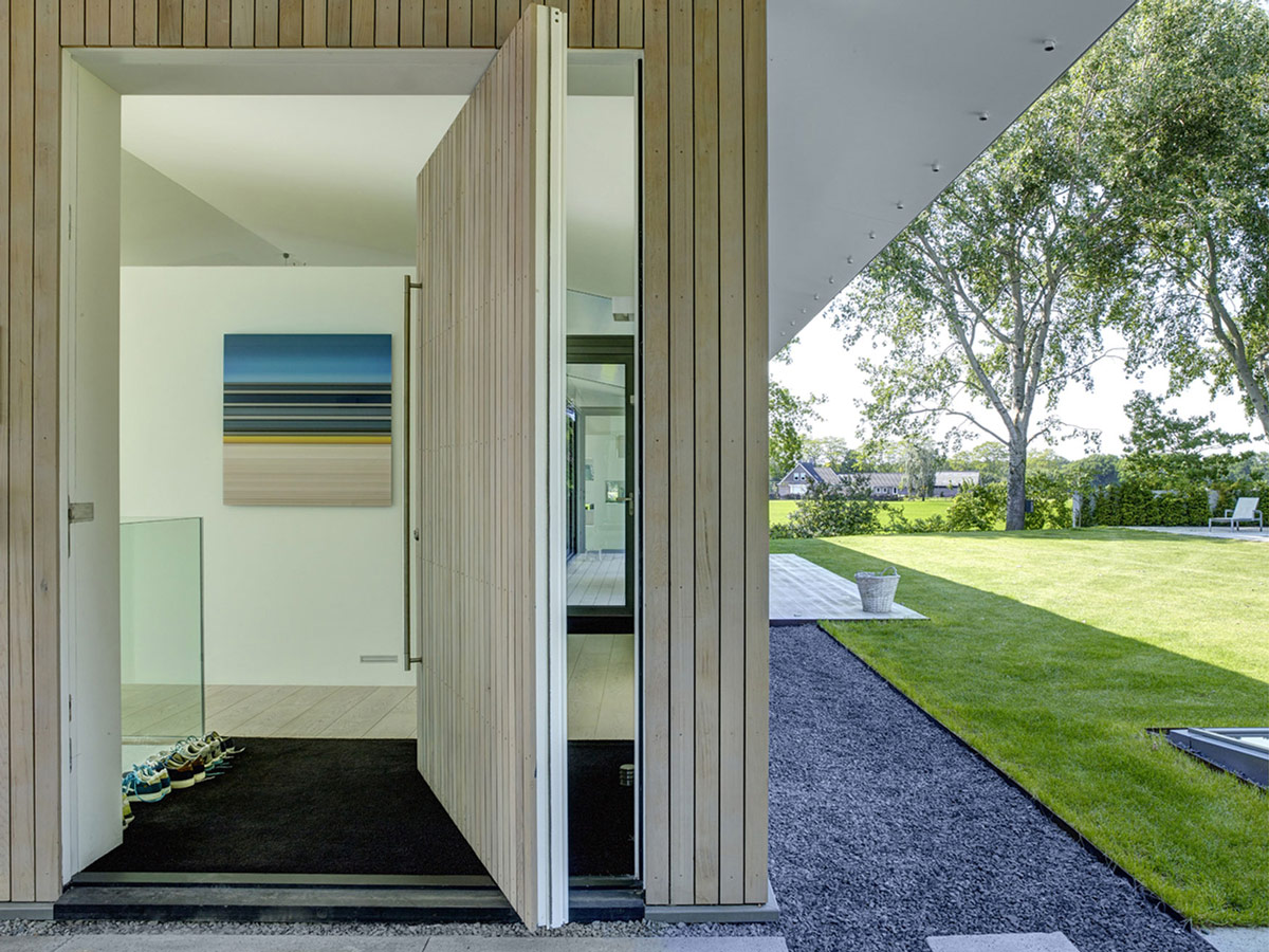 Large Door, Lawn, Modern Home in Oosterhout, The Netherlands