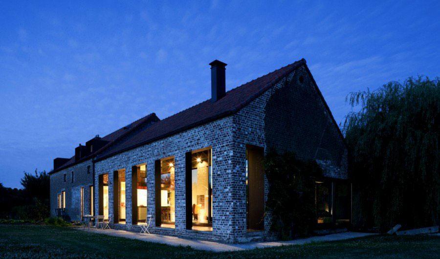 Large-Windows-Evening-Farmhouse-Renovation-in-Lennik-Belgium