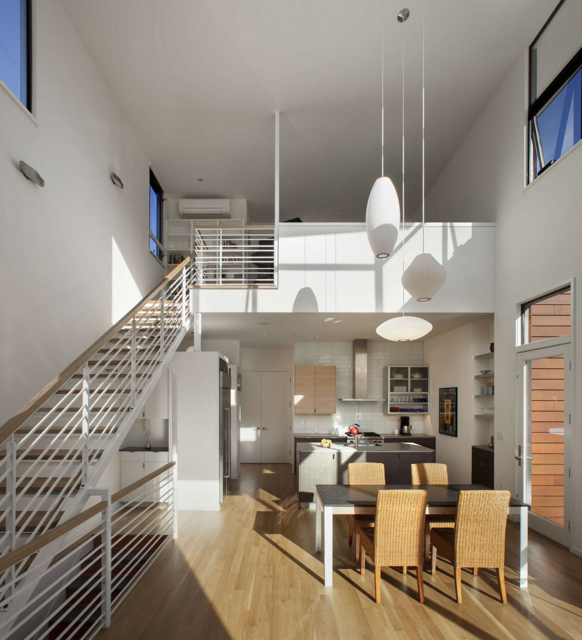 Lighting, Dining Table, Stairs, Kitchen, Stylish Townhomes near Boulder, Colorado