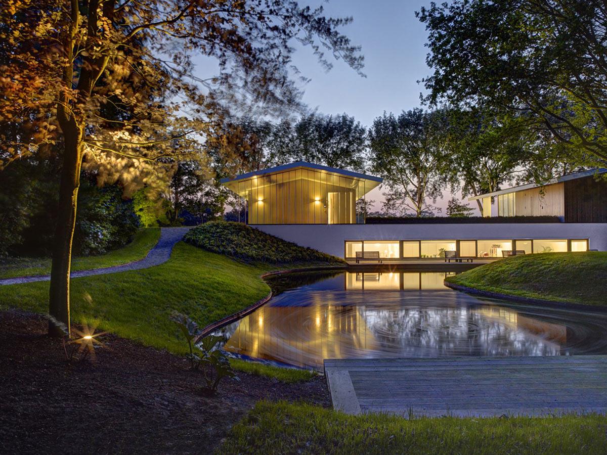 Evening, Lighting, Garden, Modern Home in Oosterhout, The Netherlands