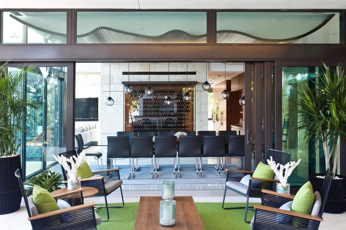Living, Dining Space, Sliding Doors, Waterfront Residence in Coral Gables, Miami
