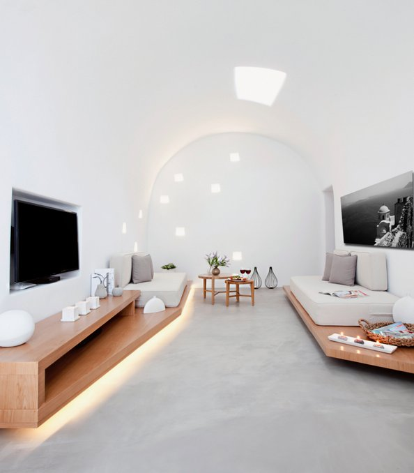 Living Room, Hidden Lighting, Skylight, Villa Renovation in Megalochori, Santorini